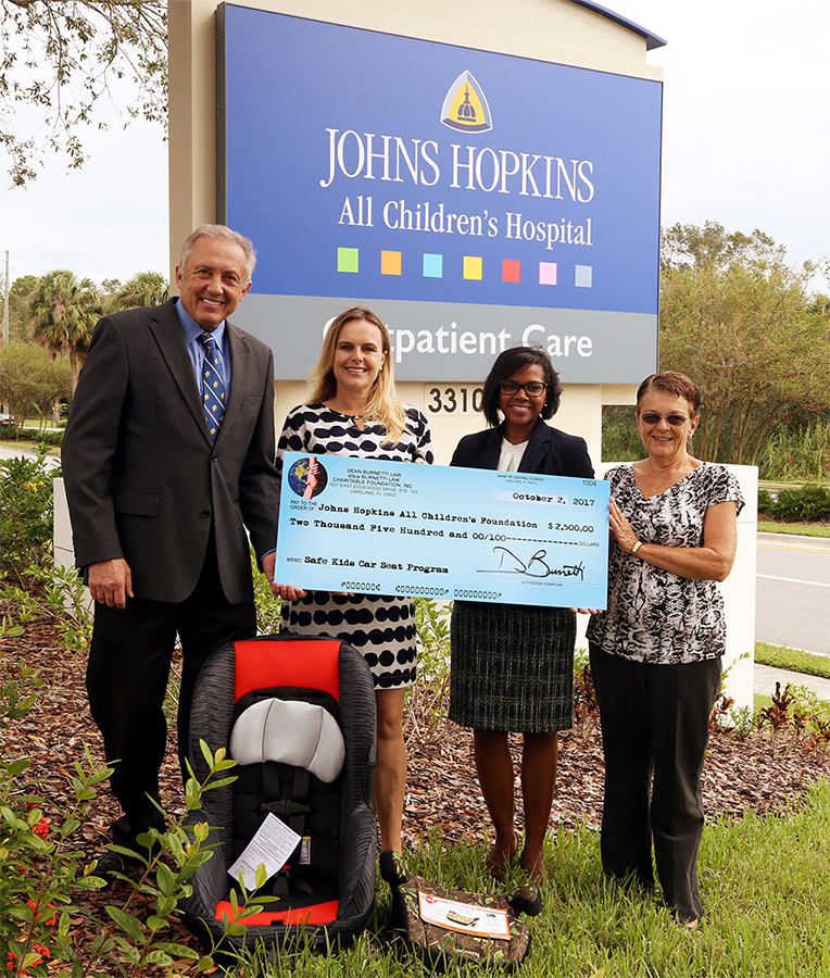 Dean Burnetti Law, Central Florida's Best Personal Injury Law Firm, Donates $2,500 to Safe Kids Car Seat Program to Benefit 125 Local Children